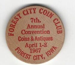 1967 Forest City, Iowa Coin Club, 7th Annual Convention, Wooden Nickel, Indian