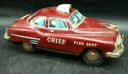 Vintage Tin Battery Operated Fire Dept. Chief Made In Japan Toy Car 1956 E2