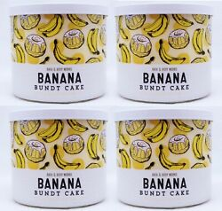 4 Bath And Body Works Banana Bundt Cake 3 Wick Scented Wax Candle 14.5 Large