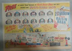 Post Cereal Ad Metal Comic Strip Rings Premium From 1948 Size 11 X 15 Inches
