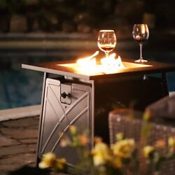 28outdoor Propane Fire Pit Patio Heater Gas Table Square Fireplace Blue Glass