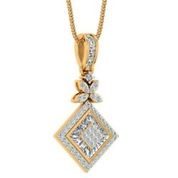 925 Sterling Silver 1.07cts Certified Diamond Designer Pendant Jewelry