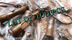 Collectible Lot Of 100 Pcs Brass Sand Timer Helmet Key Chain Ring Antique Finish