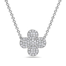 .82ct Diamond 18kt White Gold 3d Four Leaf Clover Infinity Flower Love Necklace