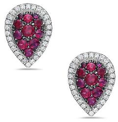 1.76ct Diamond And Aaa Ruby 18kt White Gold Cluster Tear Drop Halo Stud Earrings