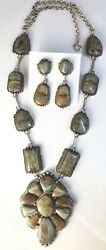 Native American Sterling Silver Navajo Indian Ribbon Turquoise 2 Pc Set Signed