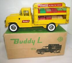 Vtg.1960 Coca-cola Buddy L Pressed Steel Ford Style Delivery Truck W/cases And Box