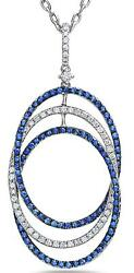 1.41ct Diamond And Aaa Sapphire 18kt White Gold Intertwining Oval Floating Pendant