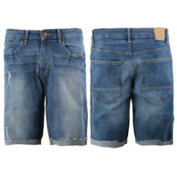 Menand039s Distressed Denim Light Faded Wash Stretch Ripped Casual Jean Shorts