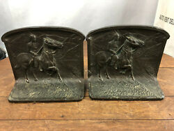 Vintage Brass Bookends Chief Horse Wh-14