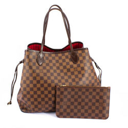 Louis Vuitton Damier Canvas Neverfull Mm Red Shoulder Bag And Wallet Combo-n41358