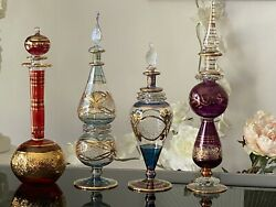 4 Large Egyptian Hand Blown Perfume Bottles Pyrex Glass, 9 - 12 Inches Tall