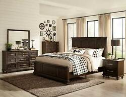 New Farmhouse Style Dark Brown Finish 5 Piece Bedroom Set W/ Queen Panel Bed A6j
