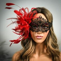 Red Black Masquerade Masks Feathers Masquerade Ball Prom Halloween Mask