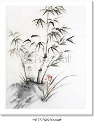 Bamboo And Orchid Art Print Canvas Print. Poster Wall Art Home Decor C