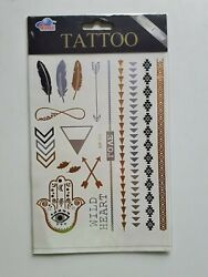 Various pattern gold silver black tattoos new