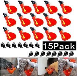 15pcs Automatic Poultry Drinking Machine Quail Pigeon Chicken Water Drinking Cup