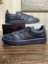 Adidas Grand Court Men Size Us 9.5 Sneakers Suede Navy Blue Ee7883 New In Box