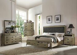 New Rustic Brown Oak Transitional 5 Piece Bedroom Set W/ Queen Storage Bed Iab1