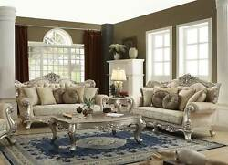 Traditional Living Room Champagne Wood Trim And Beige Fabric Sofa Couch Set Igb3