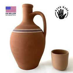 Earthenware Clay Water Pitcher With A Mug Terracotta Jug For Drinking Water
