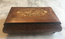 Rare Vintage Limited Edition Walnut Reuge Music Box Plays 3 Mozart Songs
