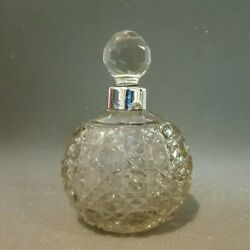 Antique Victoriancrystal And Sterling Silver Perfume Bottle 1883