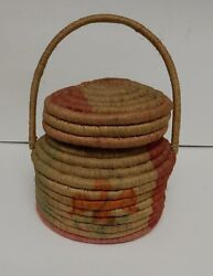 Vintage Tribal Coiled Basket With Thunderbird Design Lid Handle Native Style