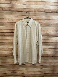 Canali Sportswear Mens Beige Plaid Button Down Shirt Size Xl Made In Italy Euc