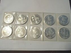 Silver-hw Mint-limited Edition-vintage Silver Rounds-10 One Ounce Coins-.999-
