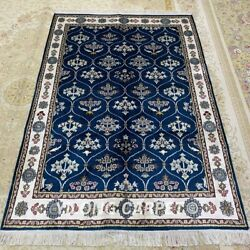 Yilong 4'x6' Blue All Over Hand Knotted Silk Area Rugs Bedroom Home Carpet L139c