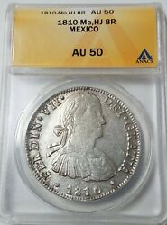 1810 Hj Mexico 8 Reale Milled Bust Au50 Moneda Us First Silver Dollar 1 Coin