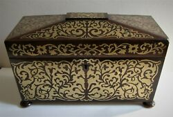 Antique Regency Period Brass Boulle Work Tea Caddy Box - Interior Compartments