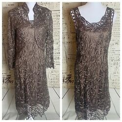 Soulmates 100 Silk And Beaded Handcrafted Mocha Brown Two Piece Dress Set 789 Rt