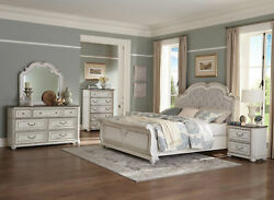 NEW Traditional Antique White amp; Brown Bedroom Furniture 5pcs Queen Bed Set A67