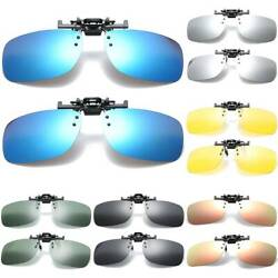 Polarized Flip Up Clip On Sunglasses Driving Fishing UV Protection Glasses Men $6.55