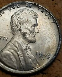 1943 S 1c Lincoln Steel Wheat Cent Uncirculated High Grade Luster Crisp Detail