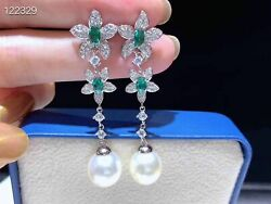 Elegant Pair Of 10-11mm South Sea Round White Pearl Dangle Earring 925s