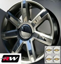 22 Inch Chevy Tahoe Replica Wheels 4739 Silver Rims With Chrome Inserts 22x9