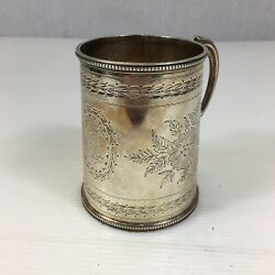 Fine Antique 1879 Mappin And Webb Solid Silver Christening Mug Cup Tankard