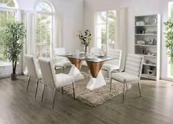 Modern 7 Piece Dining Room Rectangular Glass Top Table And 6 White Chairs Set Iced