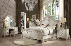 NEW Traditional Antique White 6 pieces Bedroom Suite w. King Panel Bed Set IAA4