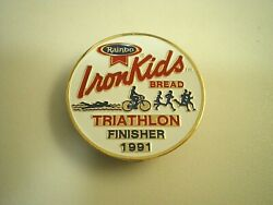 IRON KIDS Earthgrains RAINBO Bread Bakery 1991 Triathlon Finisher LAPEL HAT PIN