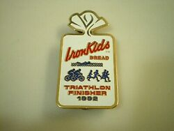 IRON KIDS Earthgrains RAINBO Bread Bakery 1992 Triathlon Finisher LAPEL HAT PIN