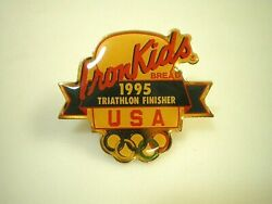 IRON KIDS Earthgrains RAINBO Bread Bakery 1995 Triathlon Finisher LAPEL HAT PIN
