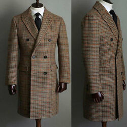 Men Wool Houndstooth Overcoat Double-breasted Six Button Winter Warm Long Suits