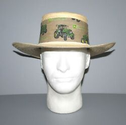New John Deere Wide Band Straw Hat Size 6 5/8 Us
