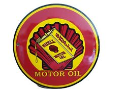 Shell Motor Oil Stove Enamel Sign . 6 Dia , New Ideal Man Cave/ Garage