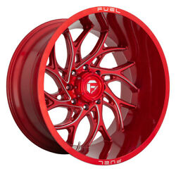Fuel D742 Runner Rim 22x10 8x180 Offset -18 Candy Red Milled Quantity Of 4
