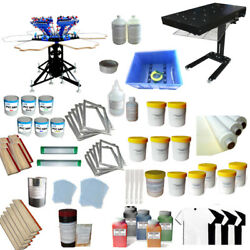 6 Color 6 Station Screen Printing Kit With Silk Screen Press Tools And Flash Dryer